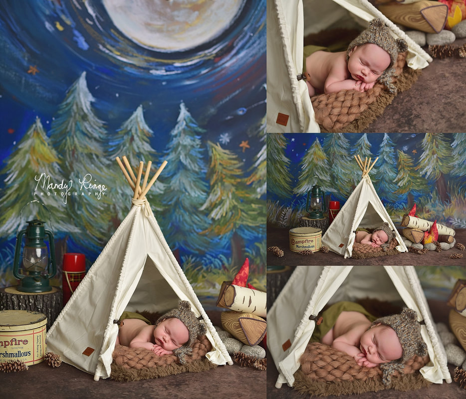Newborn portrait session // Baby boy, camping, teepee, campfire, bear bonnet, intuition backdrops