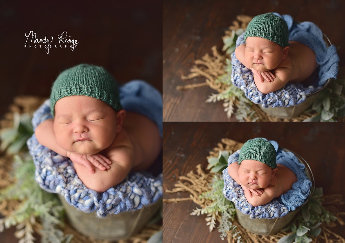 Baby boy newborn portraits // studio, blue and green, bucket pose burlap, dark brown wood // St. Charles, IL // by Mandy Ringe Photography