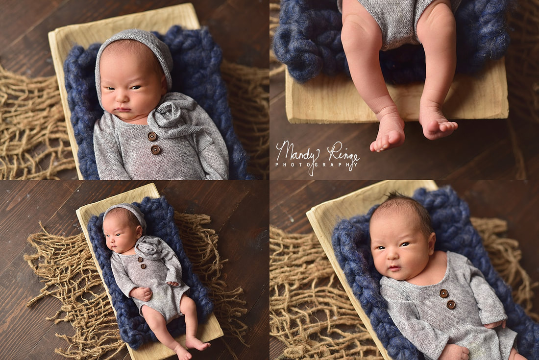 Baby boy newborn portraits // studio, blue and gray, jute twine, rectangle bowl, dark brown wood // St. Charles, IL // by Mandy Ringe Photography