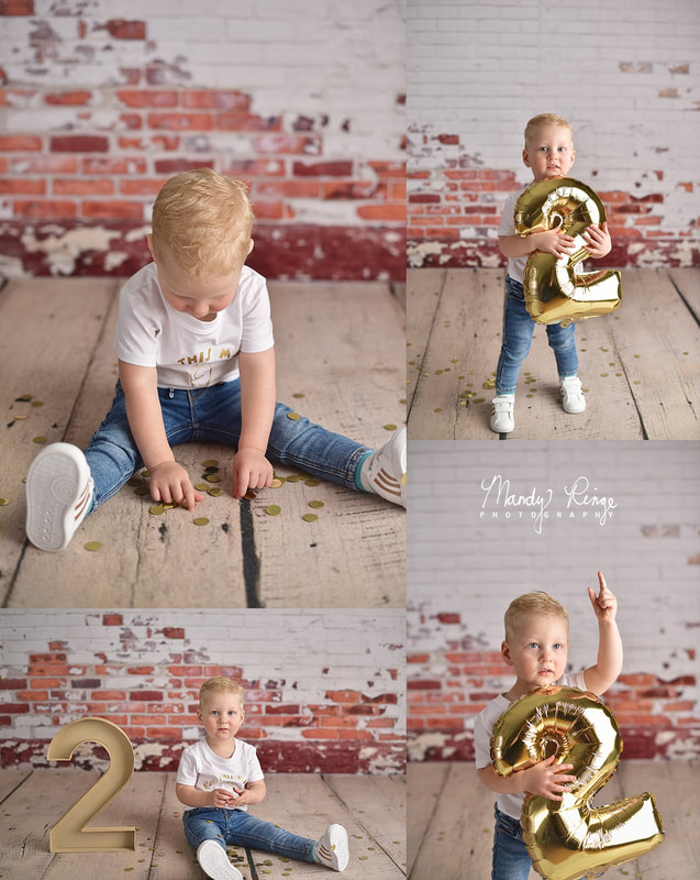 2 year old boy // Milestone portraits // brick wall, shabby, golden birthday, step ladder, balloons // by Mandy Ringe Photography // St. Charle, IL Photographer
