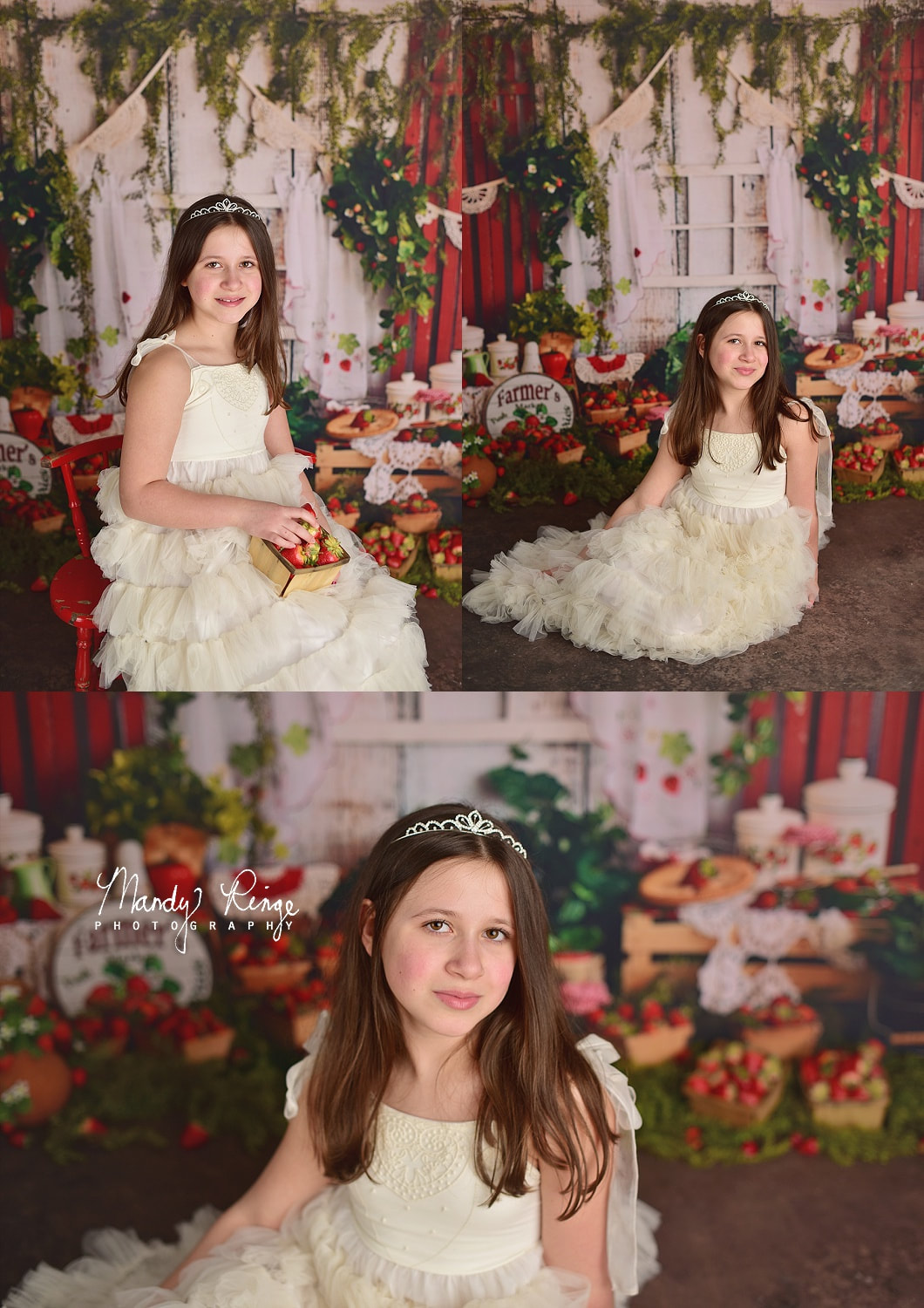 Sisters milestone portraits // strawberries, Dollcake dress, Baby Dream Backdrops // St Charles, IL Photographer // by Mandy Ringe Photography