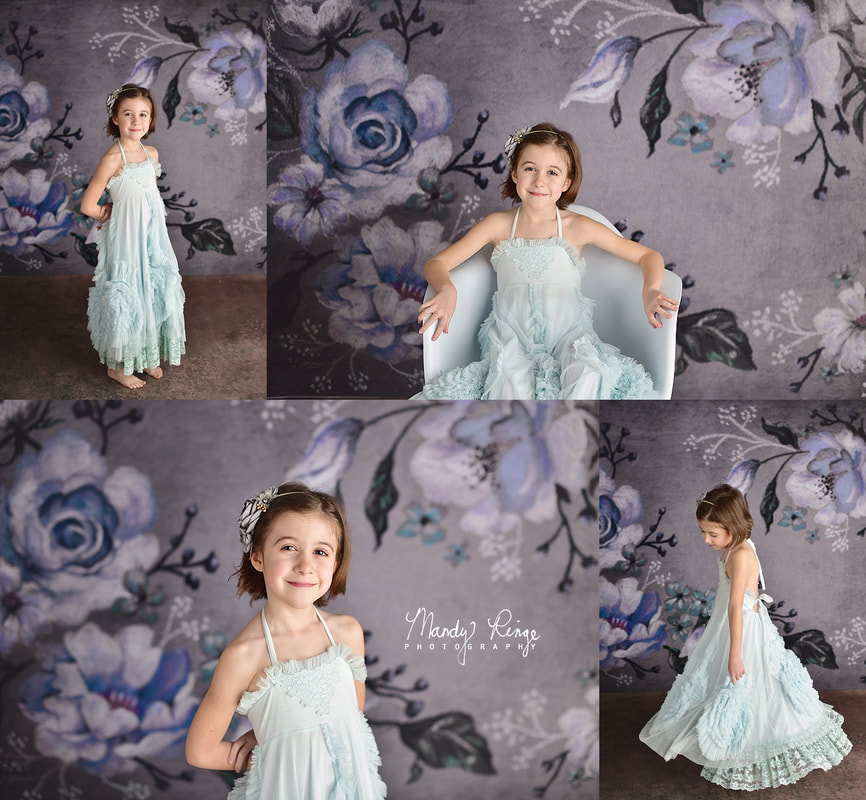 Sisters milestone portraits // Blue and gray roses, Dollcake dress, Kate Backdrops // St Charles, IL Photographer // by Mandy Ringe Photography