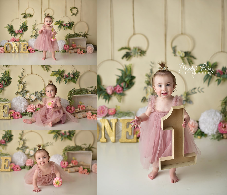 Girl first birthday portraits // floral hoops, boho, flowers, pink and gold // St. Charles, IL // by Mandy Ringe Photography