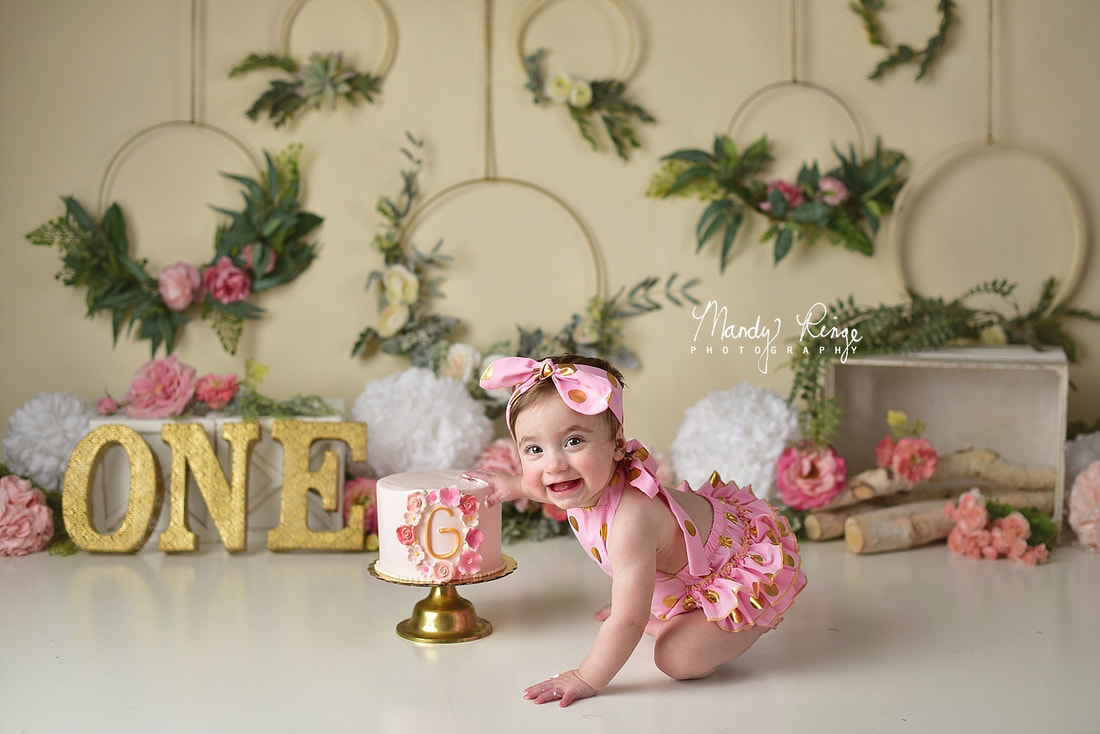 Girl first birthday portraits // one year old, cake smash, floral hoops, boho, flowers, pink and gold // St. Charles, IL // by Mandy Ringe Photography