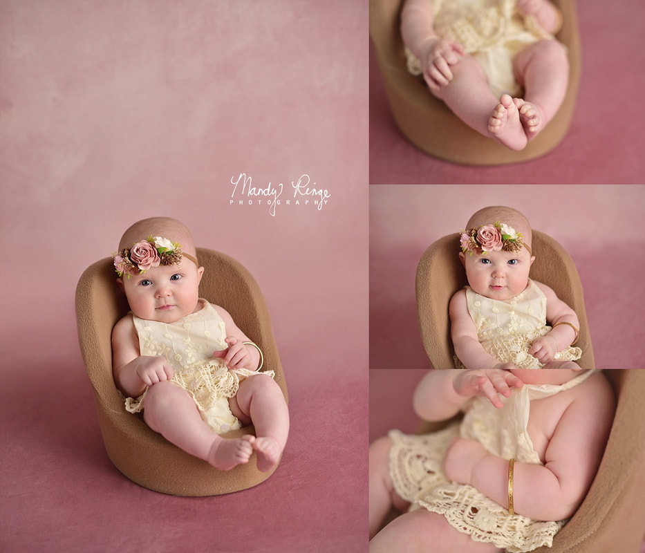 Baby girl milestone portraits // 4 months old, pink, floral, lace // St. Charles, IL // by Mandy Ringe Photography