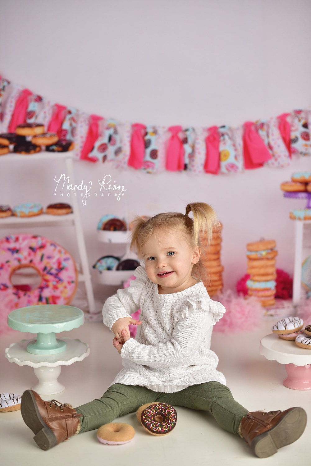 2nd Birthday Milestone Portraits // two, second birthday, donuts, donut grow up, sweets, pink and white // St. Charles, IL Photographer // by Mandy Ringe Photography