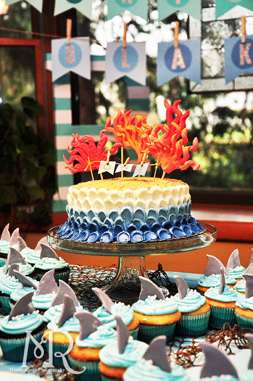 Under the Sea themed birthday party // Under the Sea birthday cake with coral // Boy's first birthday // by Mandy Ringe Photography