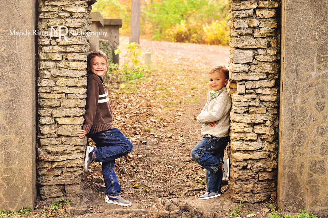 Sibling portraits // brothers, stone arch, fall foliage // Fabyan Forest Preserve - Geneva, IL // by Mandy Ringe Photography
