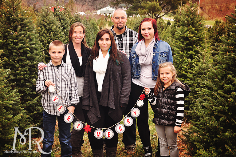 Family Christmas Portrait // Christmas Tree Farm // holding a banner that says