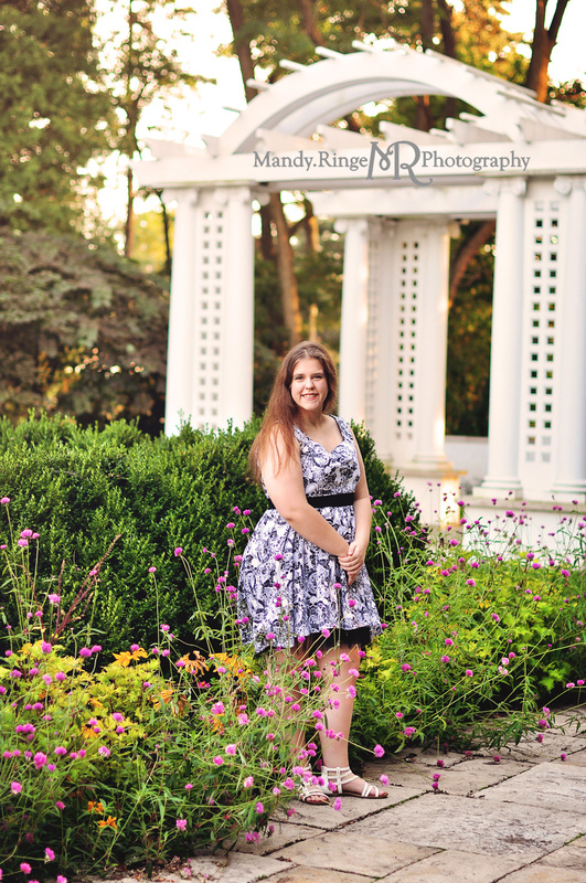 Teen girl's seventeeth birthday portraits // outdoors, garden, black and white skull dress // Hurley Gardens - Wheaton, IL // by Mandy Ringe Photography