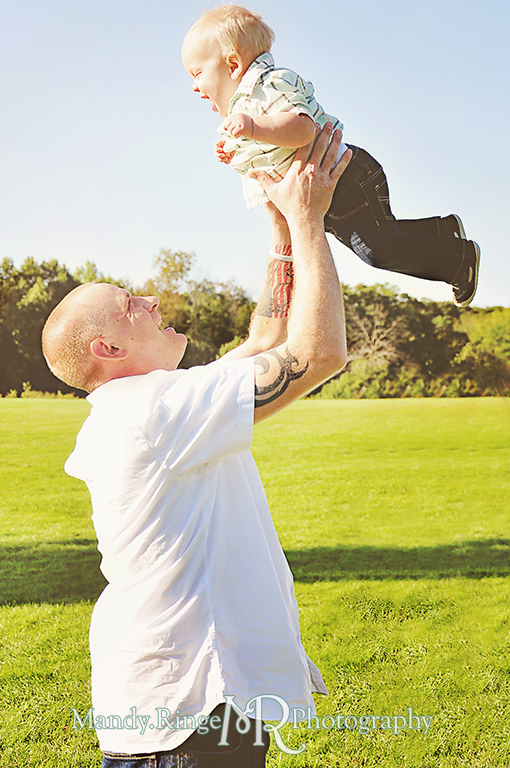 Family photos, father and son, holding the baby up in the air  // Leroy Oaks // St Charles, IL // by Mandy Ringe Photography