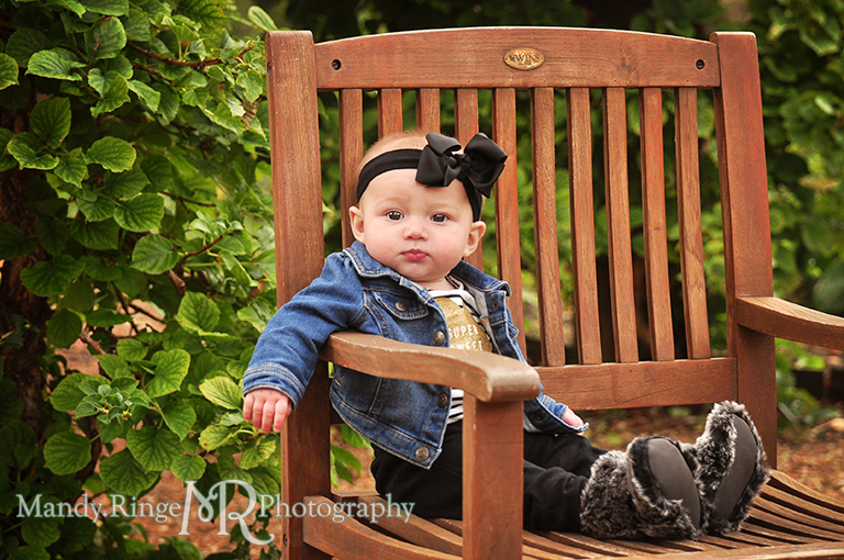 6 month old baby girl portraits // Sitting on a wooden chair // Cantigny Gardens - Wheaton, IL // by Mandy Ringe Photography