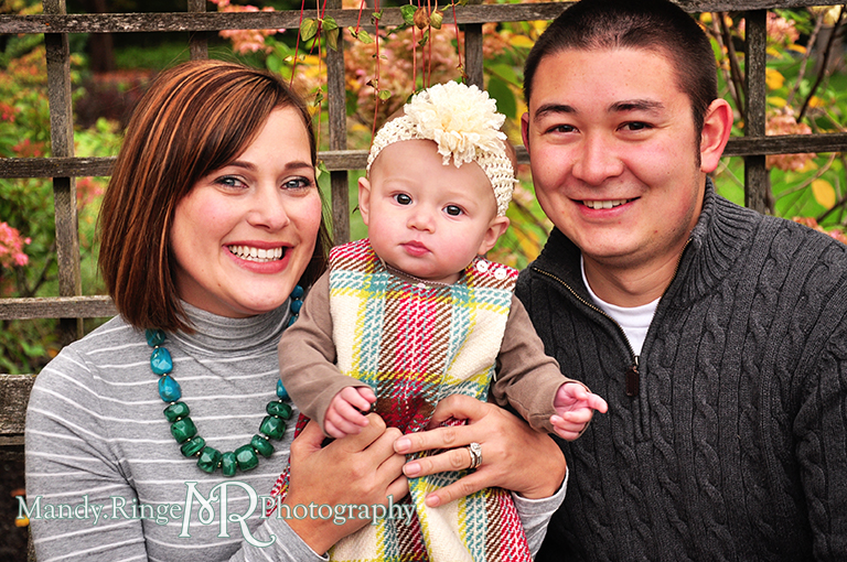 6 month old baby girl portraits // Posing with parents in front of a trellis // Cantigny Gardens - Wheaton, IL // by Mandy Ringe Photography