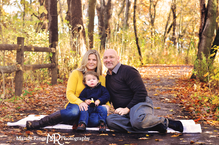 Fall family portraits // Fall foliage, wooden fence // Delnor Woods - St Charles, IL // by Mandy Rnige Photography