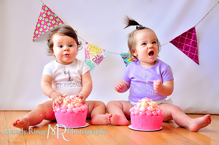 Twin girl's first birthday portraits // Cupcake smash cake, fabric pennants, pink, teal, fuchsia, yellow, rhinestone name shirts // by Mandy Ringe Photography