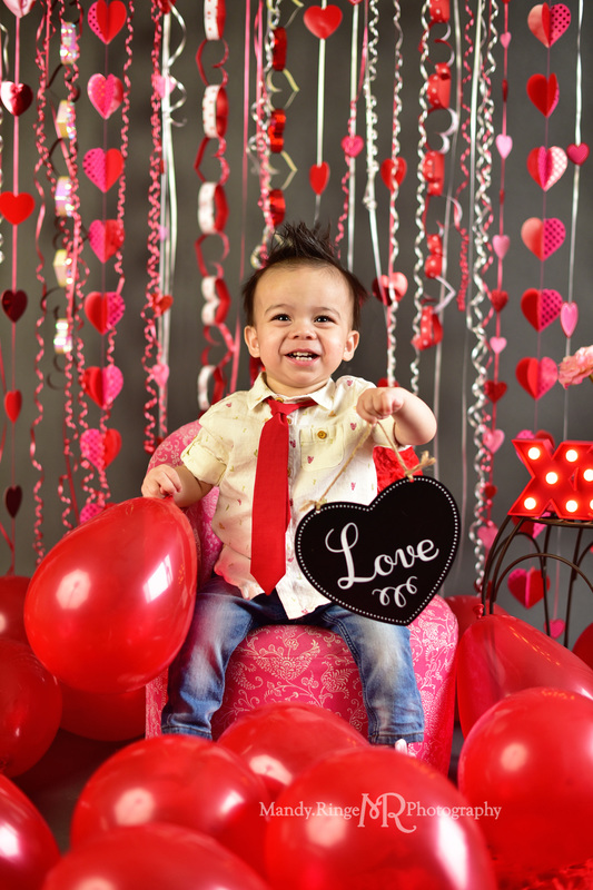 Valentine's Mini Session // Pink, red, white, gray, heart streamers, balloons // St. Charles, IL // by Mandy Ringe Photography