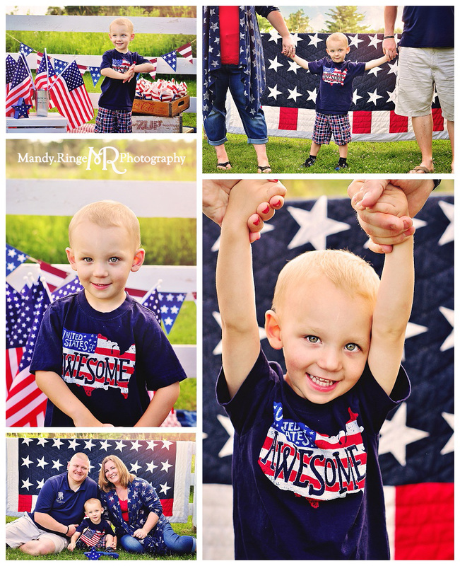 Stars and stripes patriotic mini session // Fourth of July, red, white and blue, quilt, flags, pennant banner, Radio Flyer wagon, white fence // St. Charles, IL // by Mandy Ringe Photography