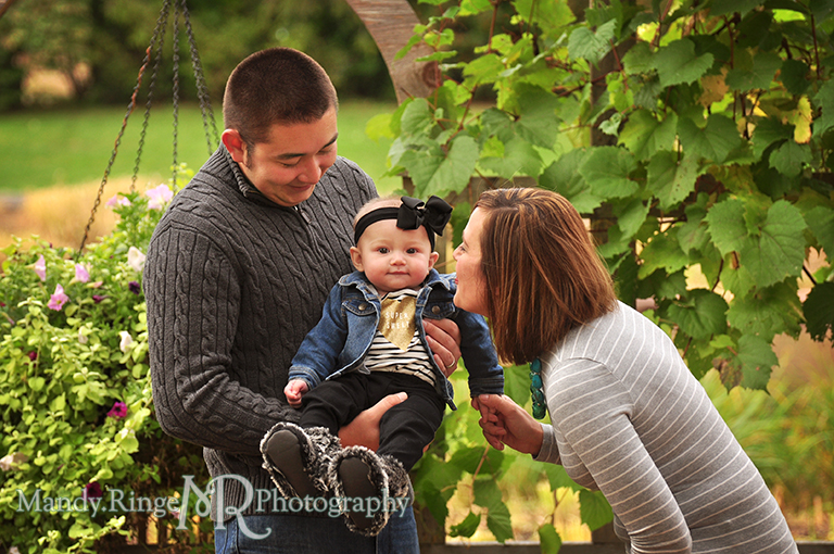 6 month old baby girl portraits // Posing with her parents // Cantigny Gardens - Wheaton, IL // by Mandy Ringe Photography