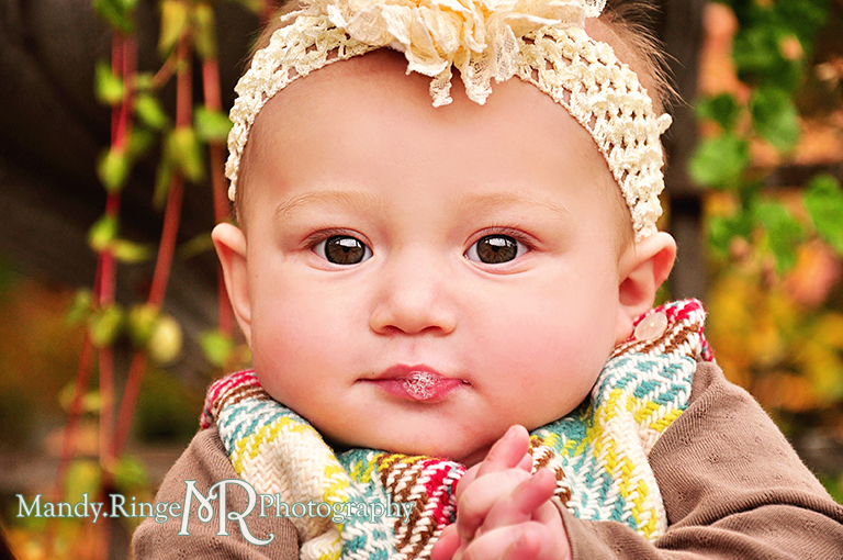 6 month old baby girl portraits // Close up of baby blowing bubbles // Cantigny Gardens - Wheaton, IL // by Mandy Ringe Photography