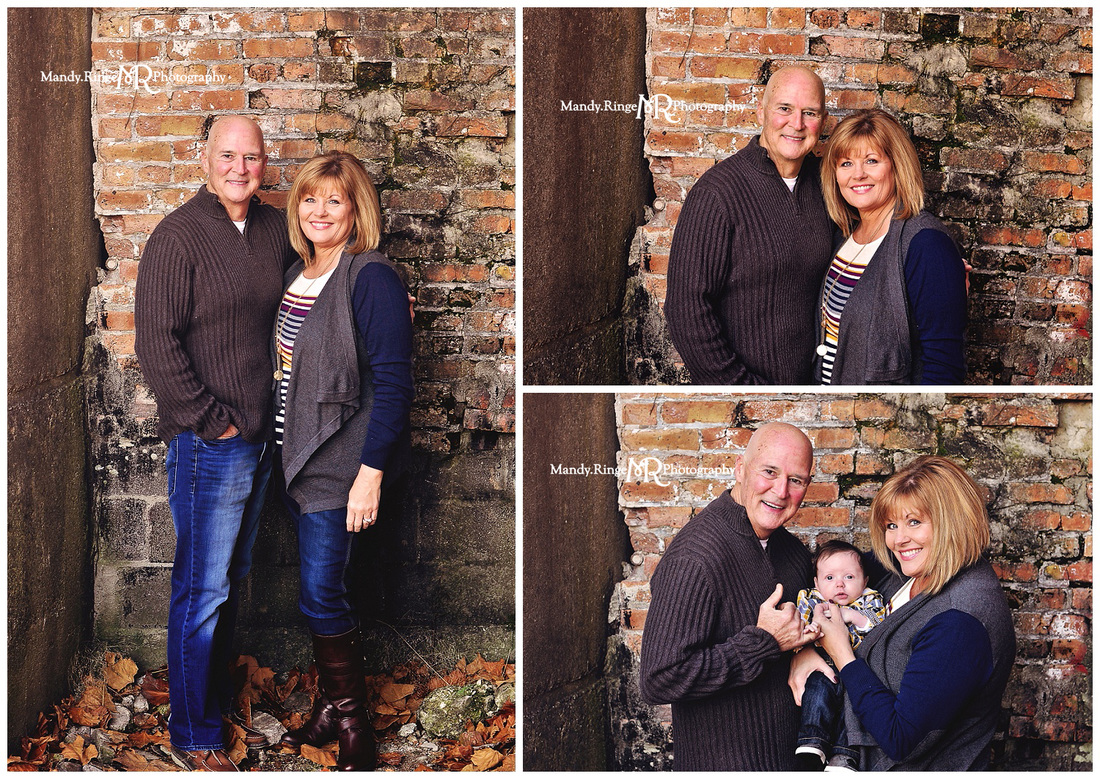 Extended Family Portrait Session // Old brick backdrop // Leroy Oakes Forest Preserve - St Charles, IL // by Mandy Ringe Photography