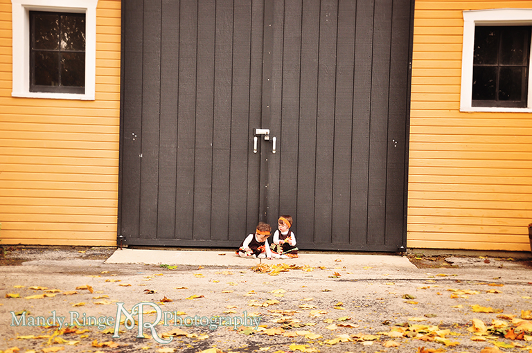 Fall portraits of 9 month old twins wearing Thanksgiving dresses // Sitting in front of a yellow barn // St. James Farm - Wheaton, IL // by Mandy Ringe Photography
