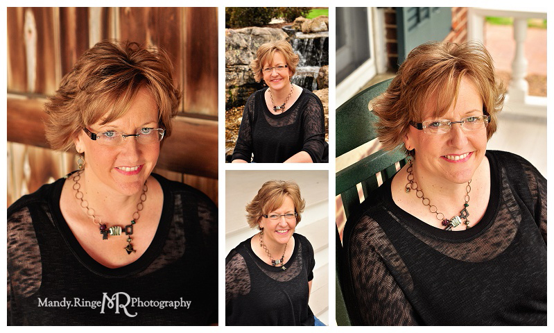 Professional headshots // outdoors with waterfall, sitting in a chair, gray stairs, dark interior barn wood // Geneva, IL // by Mandy Ringe Photography