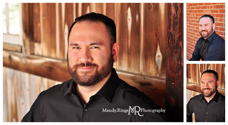 Professional headshots // Brick wall, dark interior barn wood // Geneva, IL // by Mandy Ringe Photography