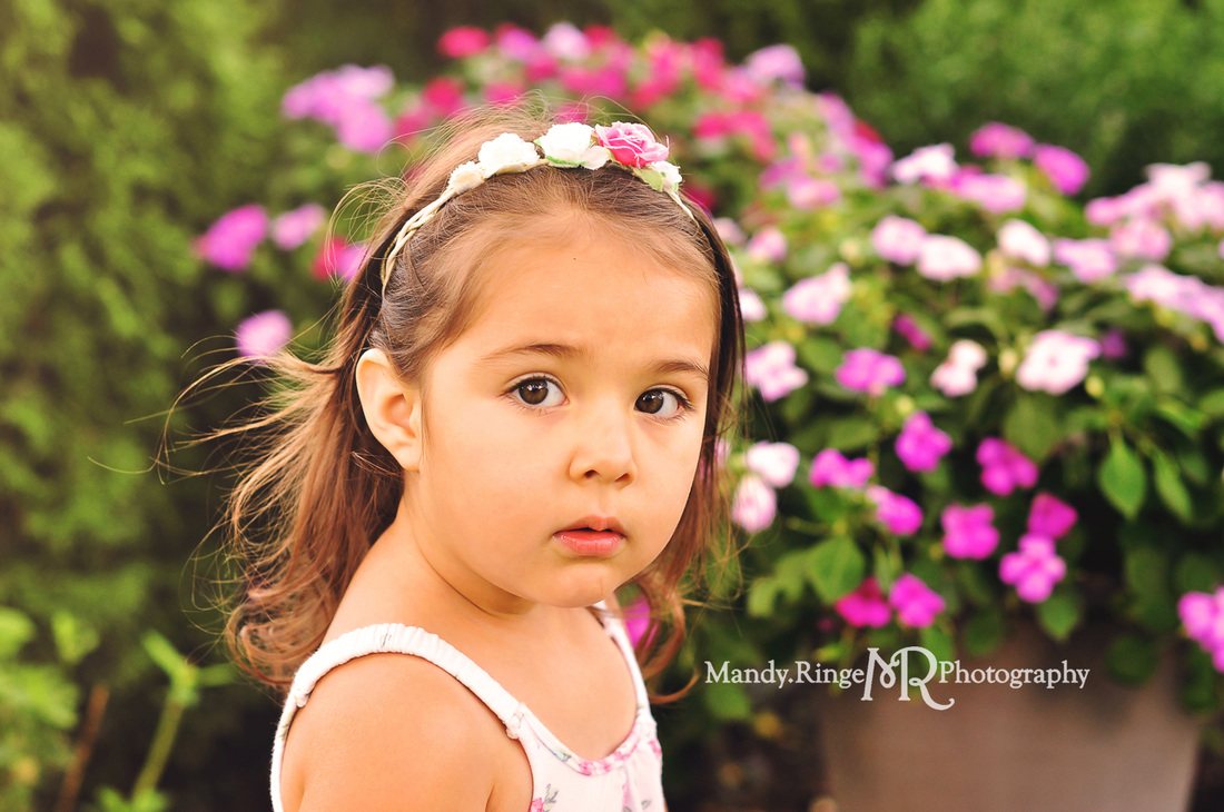 2 year old girl // flowers, summer, pink // St. Charles, IL // by Mandy Ringe Photography