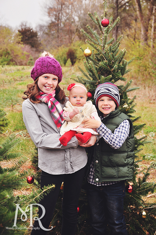 Family Christmas Portrait // Christmas Tree Farm // with red and gold decorated tree // by Mandy Ringe Photography