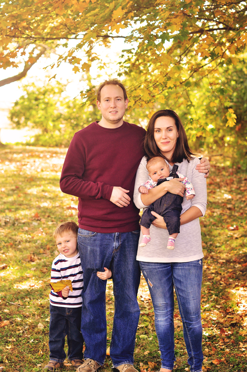 Fall family portraits // outdoors, fall foliage, leaves, maroon, gray, navy // Leroy Oakes Forest Preserve - St. Charles, IL // by Mandy Ringe Photography