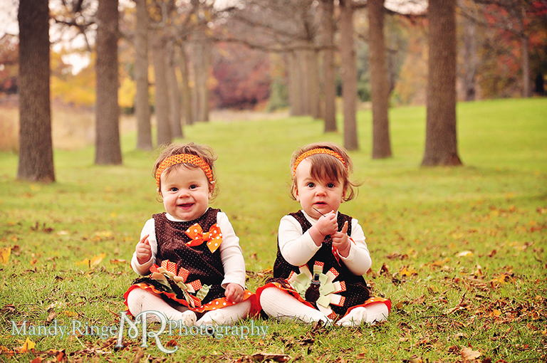 Fall portraits of 9 month old twins wearing Thanksgiving dresses // Sitting in an allée of trees // St. James Farm - Wheaton, IL // by Mandy Ringe Photography
