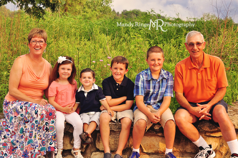Extended family portrait session // Sitting on a stone wall // Peck Farm Park - Geneva, IL // by Mandy Ringe Photography