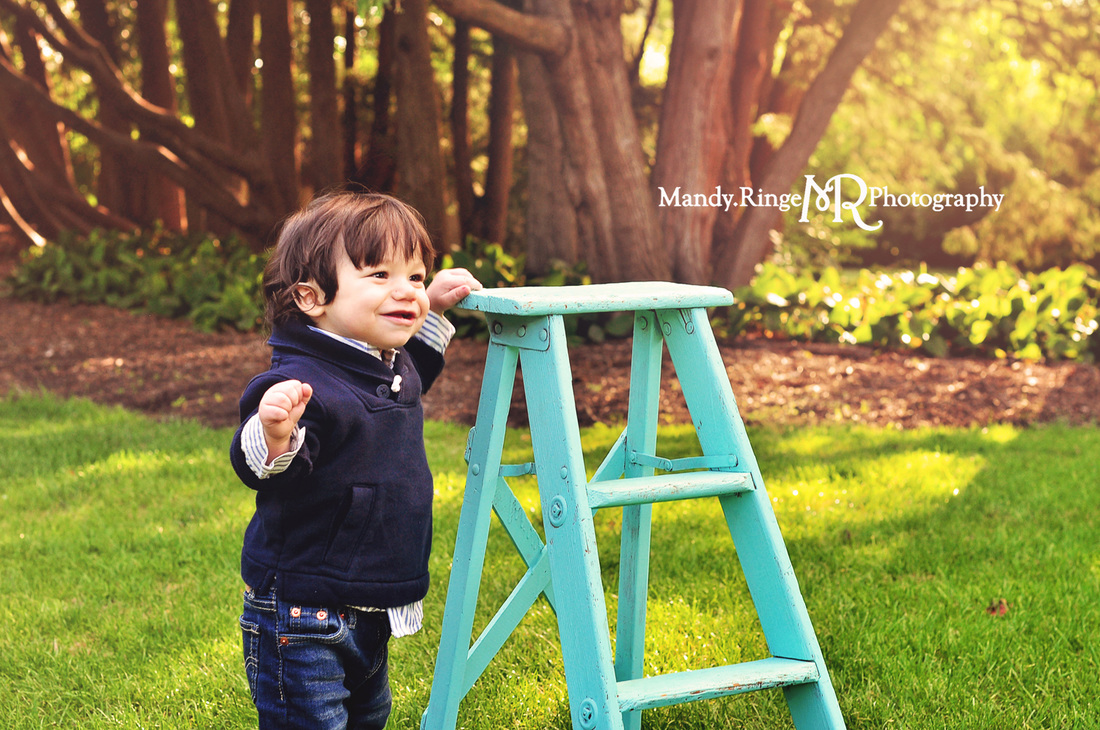 First birthday portraits // boy, garden, outdoors, 12 months // Hurley Gardens - Wheaton, IL // by Mandy Ringe Photography