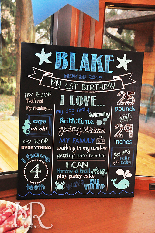 Under the Sea themed birthday party // Chalkboard infographic // Boy's first birthday // by Mandy Ringe Photography