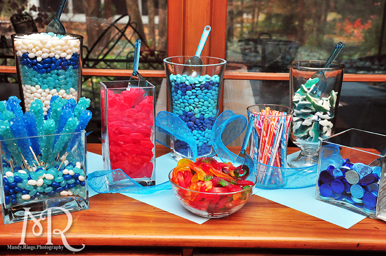Under the Sea themed birthday party // Candy bar setup // Boy's first birthday // by Mandy Ringe Photography