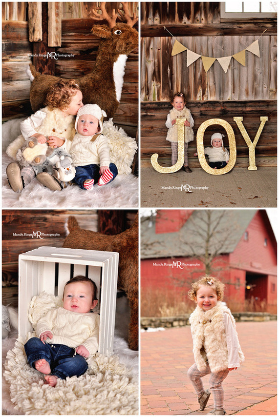 Woodland Winter styled mini session // dark barnwood backdrop, white fur, woodland animals, stuffed, plush, animals, pine trees // Peck Farm - Geneva, IL // by Mandy Ringe Photography