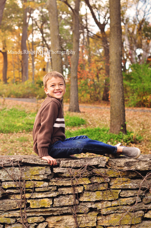 Sibling portraits // brothers, stone wall, fall foliage // Fabyan Forest Preserve - Geneva, IL // by Mandy Ringe Photography