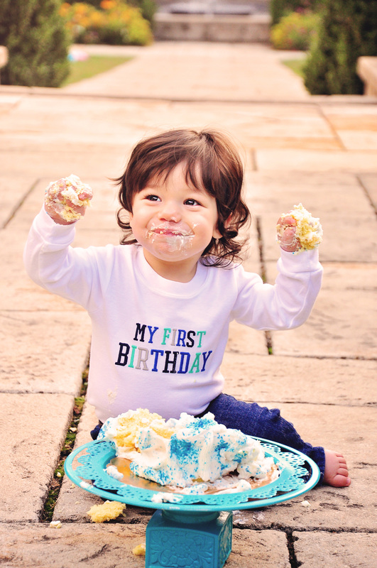 First birthday portraits // boy, cake smash, garden, outdoors, 12 months // Hurley Gardens - Wheaton, IL // by Mandy Ringe Photography