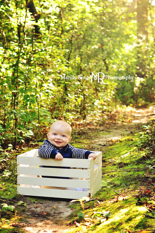 6 month portraits // baby boy, white crate, forest path // Delnor Woods - St Charles, IL // by Mandy Ringe Photography