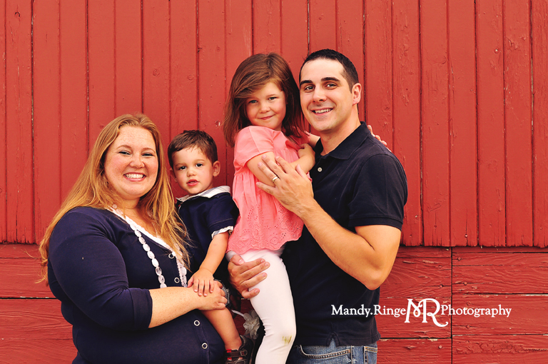 Extended family portrait session // Standing in front of a red barn  // Peck Farm Park - Geneva, IL // by Mandy Ringe Photography