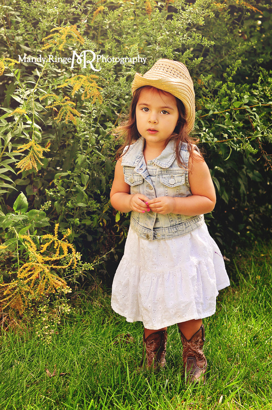 2 year old girl // Cowboy hat, boots, cowgirl, denim, summer // St. Charles, IL // by Mandy Ringe Photography