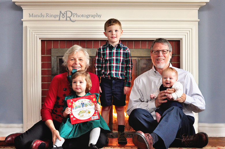 Family Christmas Portraits // Client's home, holiday, indoors, fireplace // by Mandy Ringe Photography