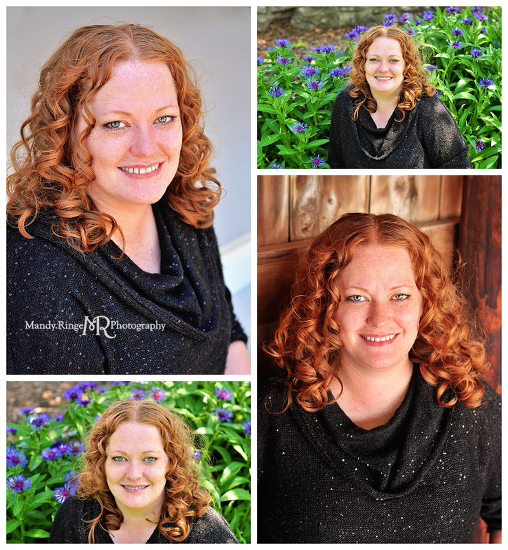 Professional headshots // outdoors with flowers, gray stairs, dark interior barn wood // Geneva, IL // by Mandy Ringe Photography