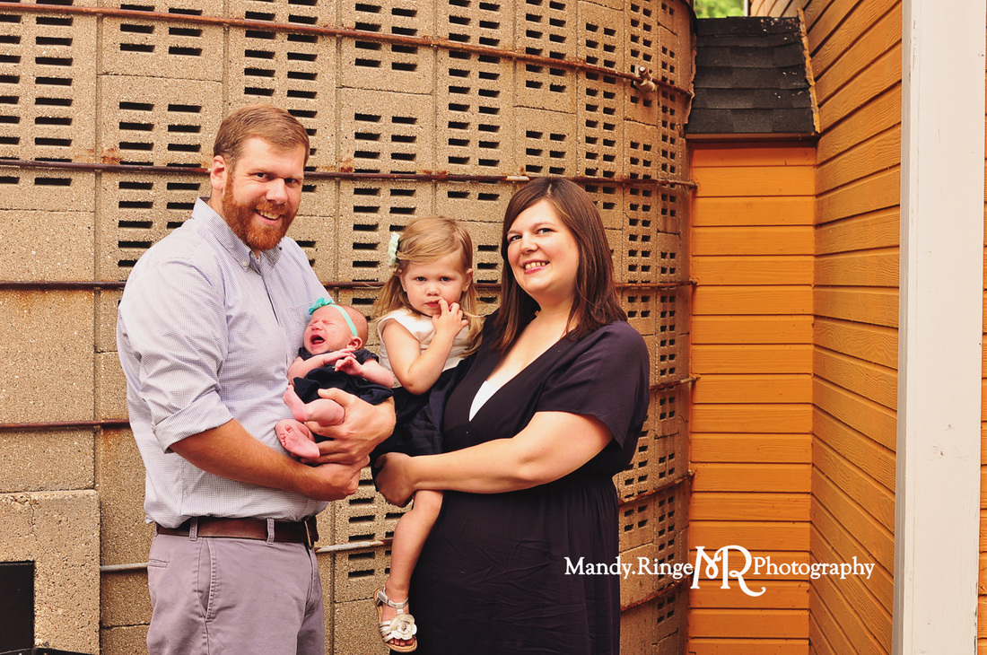 Family portraits // Yellow Barn, concrete silo // St. James Farm - Winfield, IL // by Mandy Ringe Photography