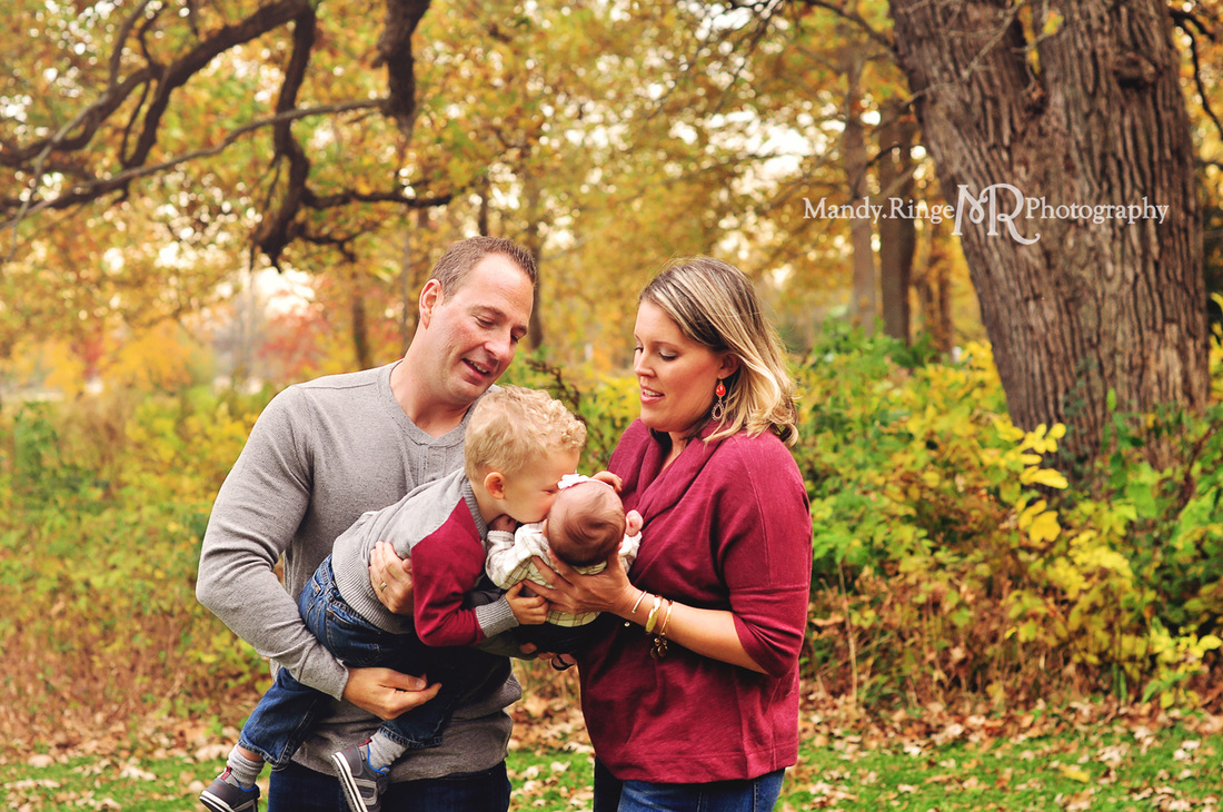 Fall family mini session // Fall foliage, family of four, new baby // Fabyan Forest Preserve - Geneva, IL // by Mandy Ringe Photography