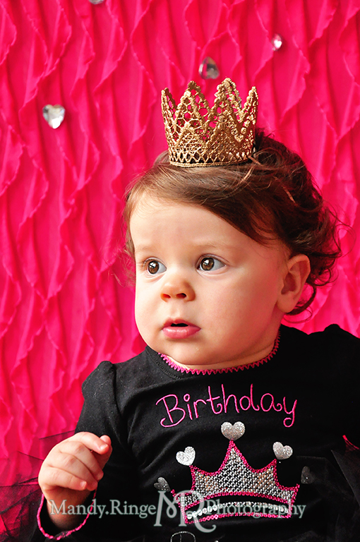 Twin girl's first birthday portraits // Pink and black, tutus, gold lace crowns, pink cowboy boots, pink ruffle backdrop, rhinestones // by Mandy Ringe Photography
