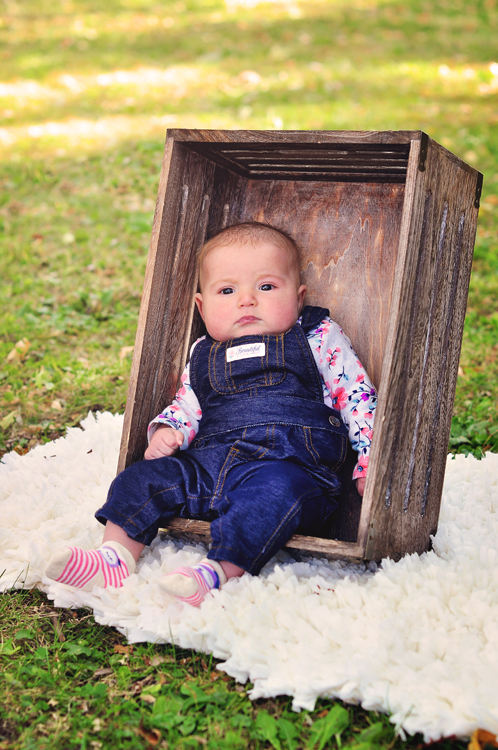 Baby portraits // 3 month old girl, denim overalls, white rag rug, sitting in a wooden crate // Leroy Oakes Forest Preserve - St. Charles, IL // by Mandy Ringe Photography