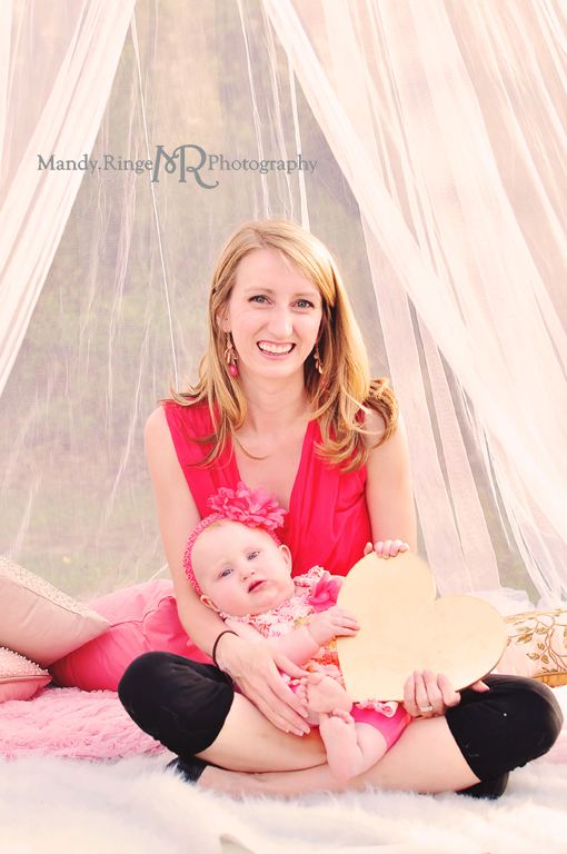 Mommy and me styled mini session portraits // Hoop canopy, trees, pink, gold, gray, pillows, flowers // St. Charles, IL // Mandy Ringe Photography