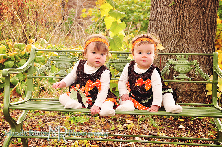 Fall portraits of 9 month old twins wearing Thanksgiving dresses // Sitting on a green metal bench in a garden // St. James Farm - Wheaton, IL // by Mandy Ringe Photography