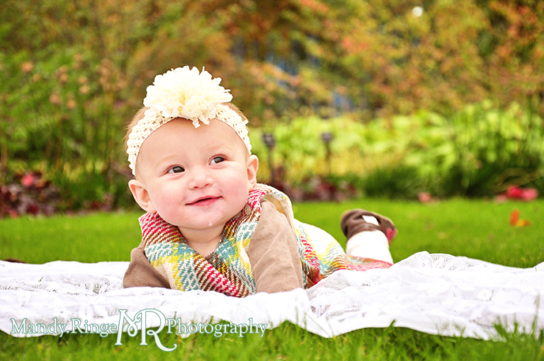 6 month old baby girl portraits // Laying on her tummy // Cantigny Gardens - Wheaton, IL // by Mandy Ringe Photography